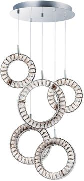 ET2 E30567-20PC Charm Modern Polished Chrome LED Multi Pendant Hanging Light
