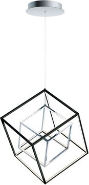 ET2 E30584-BKPC 4 Square Contemporary Black / Polished Chrome LED 20  Pendant Light Fixture