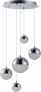 ET2 E31227-20PC Eclipse Modern Polished Chrome LED Multi Pendant Lighting Fixture