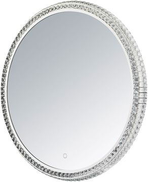 ET2 E42004-20 Crystal Mirror Modern Polished Chrome LED Round Mirror