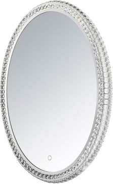ET2 E42006-20 Crystal Mirror Contemporary Polished Chrome LED Oval Mirror