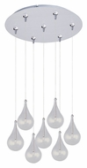 ET2 E93710-18SN Larmes Clear Glass 7 Lamp Teardrop Satin Nickel Multi Pendant Lamp