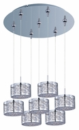 ET2 E93745-10PC Inca Polished Chrome Finish 7 Lamp Contemporary Multi Lighting Pendant