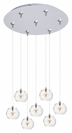 ET2 E93772-24SN Starburst Clear Glass 4 Inch Tall Modern Satin Nickel Multi Pendant Lamp