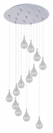 ET2 E93810-18SN Larmes 21 Inch Diameter 7 Lamp Canopy Multi Clear Glass Teardrop Hanging Light