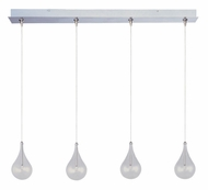 ET2 E94910-18SN Larmes Multi RapidJack Clear Glass 34 Inch Wide Bar Light - Satin Nickel
