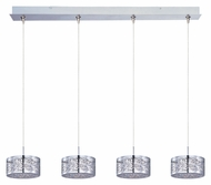 ET2 E94945-10PC Minx 4 Lamp Satin Nickel 34 Inch Wide Steel Web Linear Bar Multi Pendant Hanging Light