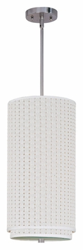 ET2 E95144-100SN Elements Stem Hanging Fluorescent Satin Nickel Drop Lighting Fixture - White Weave