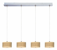 ET2 E95498-101SN Elements 4 Lamp Grass Cloth Satin Nickel Multi Drop Ceiling Light Fixture - Small