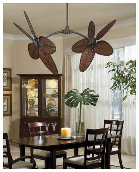 Fanimation Fans Fp7000ob Caruso Tropical Double Ceiling Fan In Oil Rubbed Bronze With Thin Oval Bamboo