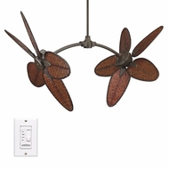 Fanimation Fans FP7000OB Caruso Tropical Double Ceiling Fan in Oil Rubbed Bronze with Thin Oval Bamboo Blades