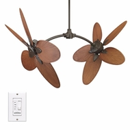 Fanimation Fans FP7000OB Caruso Tropical Double Ceiling Fan in Oil Rubbed Bronze with Thin Oval Palm Blades