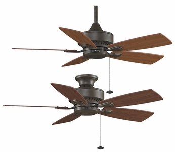 Fanimation Fans FP8042OB Cancun 42 Dry-Rated Downrod or Flush Mount Ceiling Fan in Oil-rubbed Bronze with Cherry/Walnut Reversible Blades