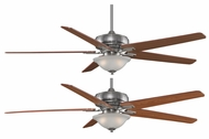 Fanimation Fans FPD8089PW Keistone 72  Pewter Halogen Electric Ceiling Fan with White Linen Glass and Reversible Cherry/Walnut Blades