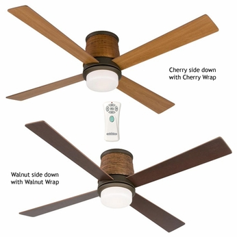 Fanimation Fans FPS7880OB Inlet Contemporary Flush Mount Downlight Ceiling Fan in Oil Rubbed Bronze with Woven Housing