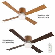 Fanimation Fans FPS7880SN Inlet Contemporary Flush Mount Downlight Ceiling Fan in Satin Nickel with Woven Housing