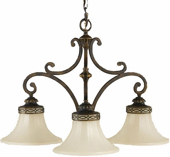 Feiss F2219-3WAL Drawing Room 3 Light Amber and Walnut Mini Chandelier