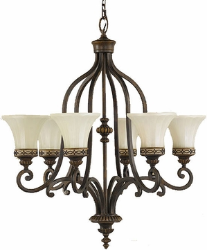 Feiss F2224-6WAL Drawing Room 6 Light Amber and Walnut Chandelier