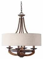 Feiss F2752/4RI/BWD Adan Burnished Wood 22 Inch Diameter 4 Lamp Chandelier With Shade