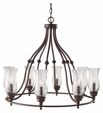 Feiss F2784/8HTBZ Pickering Lane Medium 8 Lamp 31 Inch Diameter Chandelier Lighting - Heritage Bronze