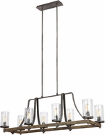 Feiss F3136-8DWK-SGM Angelo Distressed Weathered Oak / Slated Grey Metal Kitchen Island Lighting