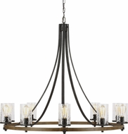 Feiss F3137-10DWK-SGM Angelo Modern Distressed Weathered Oak / Slate Grey Metal Ceiling Chandelier