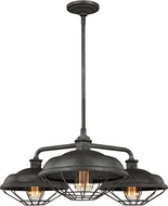 Feiss F3157-3SGM Lennex Retro Slated Grey Metal Hanging Chandelier