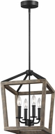 Feiss F3190-4WE-AF-SP Washed Pine / Antique Forged Iron 12  Foyer Light Fixture