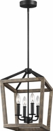 Feiss F3190-4WOW-AF Gannet Weathered Oak Wood / Antique Forged Iron 12  Foyer Lighting