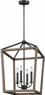 Feiss F3191-4WE-AF-SP Washed Pine / Antique Forged Iron 18 Foyer Lighting Fixture