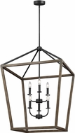 Feiss F3192-6WE-AF-SP Washed Pine / Antique Forged Iron 25.5  Entryway Light Fixture