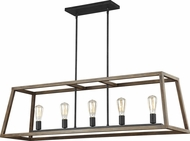Feiss F3193-5WOW-AF Gannet Weathered Oak Wood / Antique Forged Iron Island Lighting