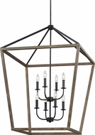 Feiss F3194-8WOW-AF Gannet Weathered Oak Wood / Antique Forged Iron Foyer Light Fixture