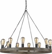 Feiss F3932-12WOW-AF Avenir Contemporary Weathered Oak Wood / Antique Forged Iron Chandelier Light