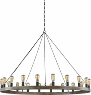 Feiss F3933-20WOW-AF Avenir Modern Weathered Oak Wood / Antique Forged Iron Ceiling Chandelier