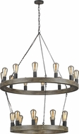 Feiss F3934-21WOW-AF Avenir Contemporary Weathered Oak Wood / Antique Forged Iron Hanging Chandelier