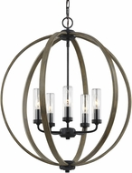 Feiss OLF3294-5WOW-AF Allier Weathered Oak Wood / Antique Forged Iron Outdoor Hanging Light
