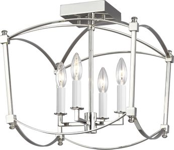 Feiss SF350PN Thayer Polished Nickel Flush Mount Ceiling Light Fixture