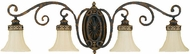 Feiss VS11204WAL Drawing Room 4 Light Ornate Amber and Walnut Vanity Wall Lighting Fixture