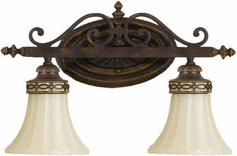 Feiss VS12502WAL Drawing Room 2 Light Amber and Walnut Bath Wall Lighting Fixture