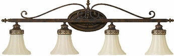 Feiss VS12504WAL Drawing Room 4 Light Amber and Walnut Vanity Wall Lighting Fixture