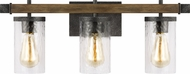 Feiss VS18253DWK-SGM Angelo Contemporary Distressed Weathered Oak / Slate Grey Metal 3-Light Lighting For Bathroom