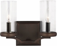 Feiss VS23202DAC-AC Jacksboro Dark Antique Copper / Antique Copper 2-Light Bathroom Sconce Lighting