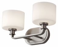 Feiss VS29002-BS Kincaid Transitional 2 Lamp Brushed Steel Bath Lighting - 16 Inches Wide