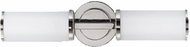Feiss WB1334PN Industrial Revolution 2 Light ADA Horizontal Polished Nickel and Opal Etched Glass Bath Wall Lighting Fixture