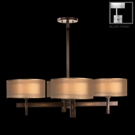 Fine Art Lamps 436540-2 Quadralli Silver Small 4-lamp Modern Chandelier with Shades