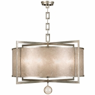 Fine Art Lamps 591540-2 Singapore Moderne Silver Drum Hanging Pendant Lighting