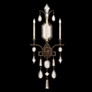 Fine Art Lamps 710450-3 Encased Gems Bronze 3-lamp Wall Lighting Sconce with Clear Crystals