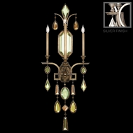 Fine Art Lamps 726950-1 Encased Gems Silver 3-lamp Large Wall Sconce Candle with Multi-Color Crystals