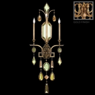 Fine Art Lamps 727050-1 Encased Gems Large Gold 3-light Wall Lamp with Multi-Color Crystals
